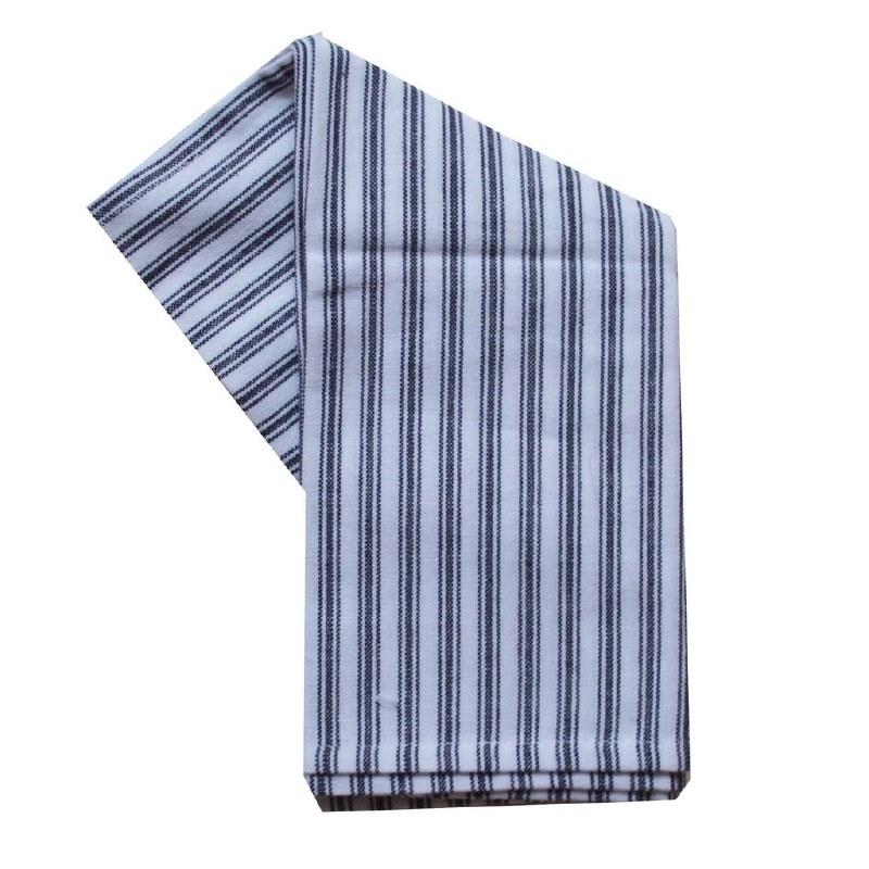 "Cream Ticking Stripe Tea Towel 20/""X28/"" Black Stripe 875025001116"