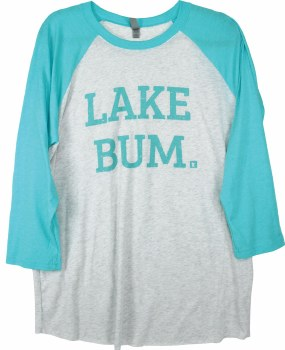 Lake Bum Raglan, Tahiti Blue & Gray- L