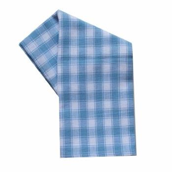 "House Check 20""x28"" Tea Towel- White & Light Blue"