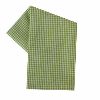 """Mini Check 20""""x28"""" Tea Towel- White & Lime Green"""