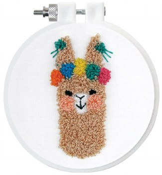 "Punch Needle Kit w/ Hoop, 3.5""- Floral Llama"