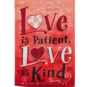 Garden Flag, Suede- Love Is Patient