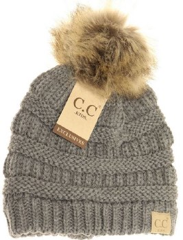 Kid's CC Knit Beanie w/ Natural Pom- Light Grey