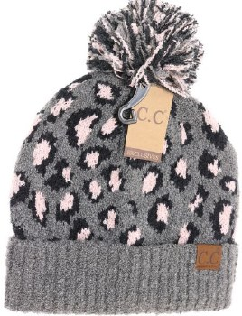 CC Knit Beanie, Leopard Print- Light Grey