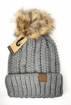 CC Knit Cuffed Beanie w/ Fur Pom- Light Grey
