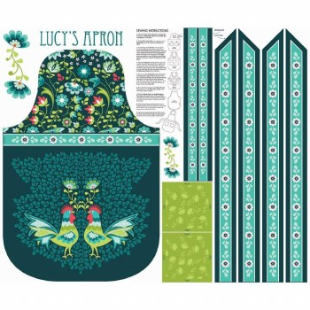 Fabric Panel, Apron- Lucy's Garden Teal