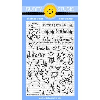Sunny Studio Magical Mermaids Clear Stamps