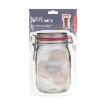 Kikkerland Zipper Mason Jar Bags, 3pc- Medium
