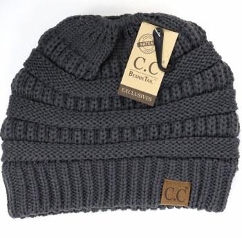 CC Knit Beanie Tail- Dark Gray