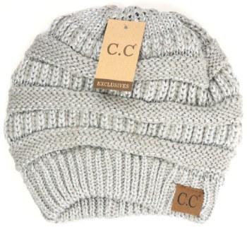 CC Knit Beanie- Metallic Silver