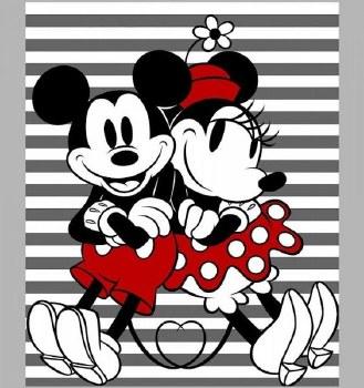 Licensed Fabric Panel- Mickey & Minnie Stirpe