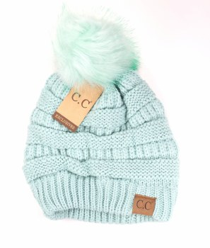 CC Knit Beanie w/ Pom- Mint