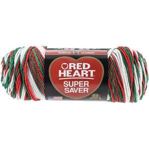 Red Heart Super Saver Yarn, Mulit-Color- Mistletoe