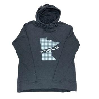 Minnesota Plaid Grey Hoodie- Medium