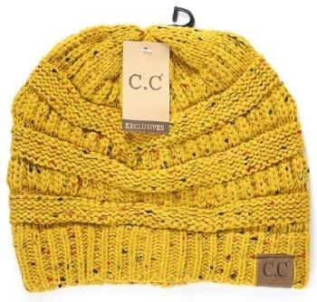 CC Knit Flecked Beanie- Mustard