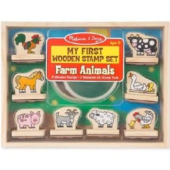 Melissa & Doug Stamp Set, My First Wooden Stamps- Farm Animals