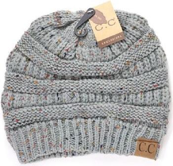CC Knit Flecked Beanie- Natural Grey