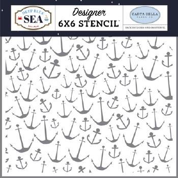 Deep Blue Sea 6x6 Stencil- Nautical Anchors