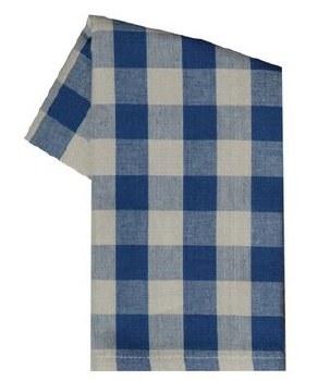"Buffalo Check 20"" x 28"" Tea Towel- Navy & Teadye"