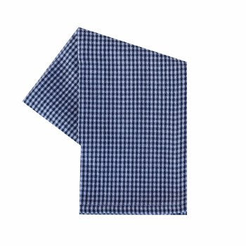 "Mini Check 20""x28"" Tea Towel- White & Navy"