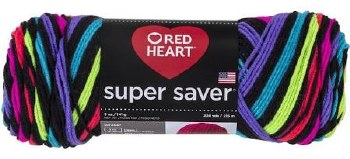 Red Heart Super Saver Yarn, Mulit-Color- Neon Stripes