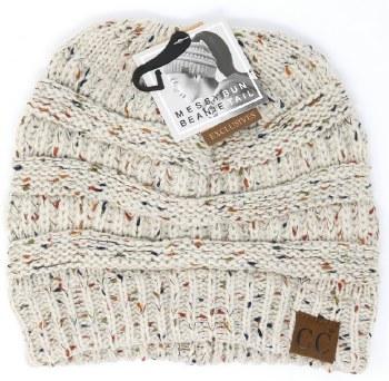 CC Knit Beanie Tail- Oatmeal Confetti