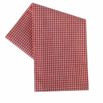 "Mini Check 20""x28"" Tea Towel- White & Orange"