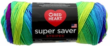 Red Heart Super Saver Yarn, Stripes- Parrot