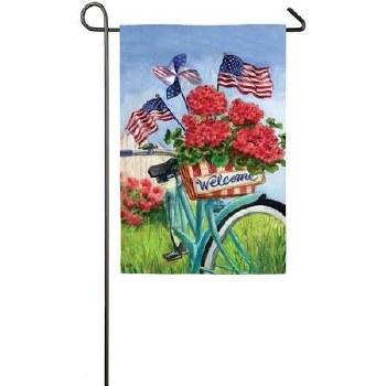 Garden Flag, Suede- Patriotic Bicycle