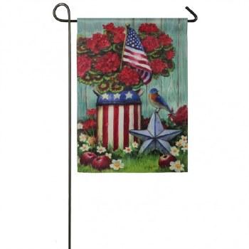 Garden Flag, Suede- Patriotic Milk Can