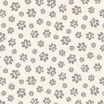 Cat & Dog Bolted Fabric- Cream /w Gray Paw Prints