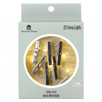 20ct Teeny Photoclips Lights Set- Silver