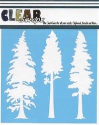 Clear Scraps 12x12 Stencil- Pine Tree