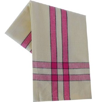 """Two Striped Cream 20""""x28"""" Tea Towel- Pink with Black"""