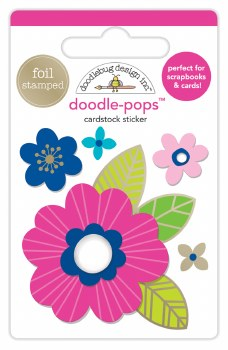 Hello Doodle-Pops Stickers- Pink Poppy