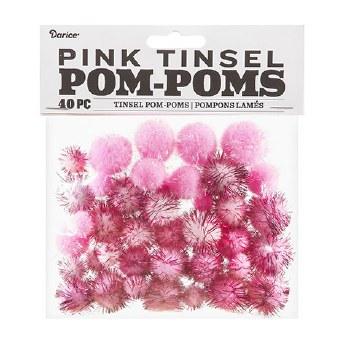 Tinsel Pom-Poms- Pink