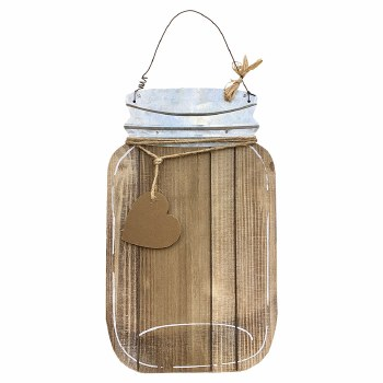 "16"" Plaque Wood Mason Jar"