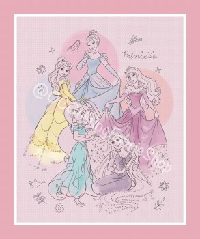 Licensed Fabric Panel- Pretty Princesses