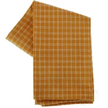 "Window Pane 20""x28"" Tea Towel- Pumpkin & Cream"