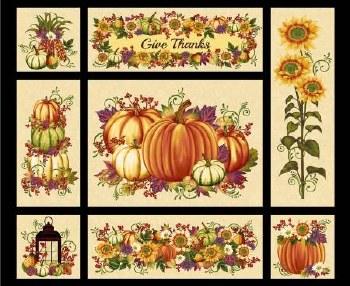 Fall & Halloween Fabric Panel- Pumpkin Harvest
