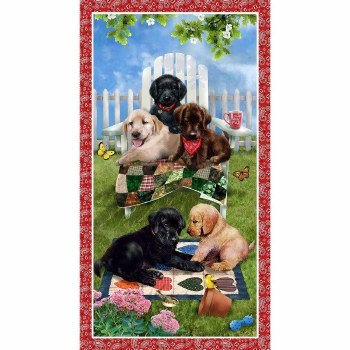`Animals Fabric Panel- Pups in the Garden