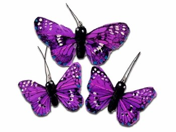 Touch of Nature Butterfly Feather Small/Large Purple 3pc