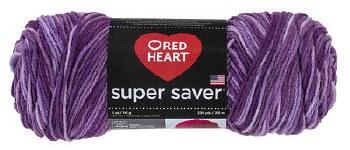 Red Heart Super Saver Yarn, Mulit-Color- Purple Tones