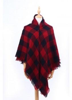 Blanket Scarf- Red & Black Buffalo Plaid