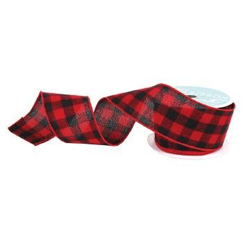 Wired Ribbon Spool- Buffalo Check, Red & Black