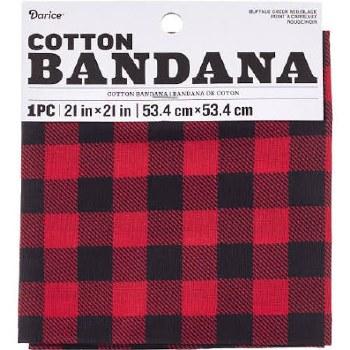 "Cotton Bandana 21""x21""- Red Buffalo Check"