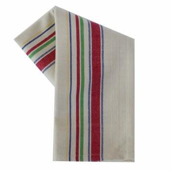 """Vintage Style 20"""" x 28"""" Tea Towel- Multi Color Stripes on Cream"""