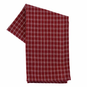 "Window Pane 20""x28"" Tea Towel- Red & Cream"