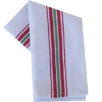"Vintage Style 20"" x 28"" Tea Towel- Red & Green Stripe"