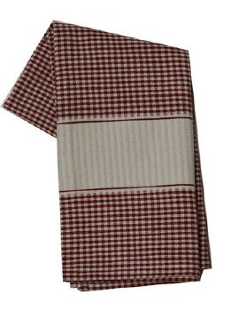 "Mini Check w/ Cream Band 20"" x 28"" Tea Towel- Red"